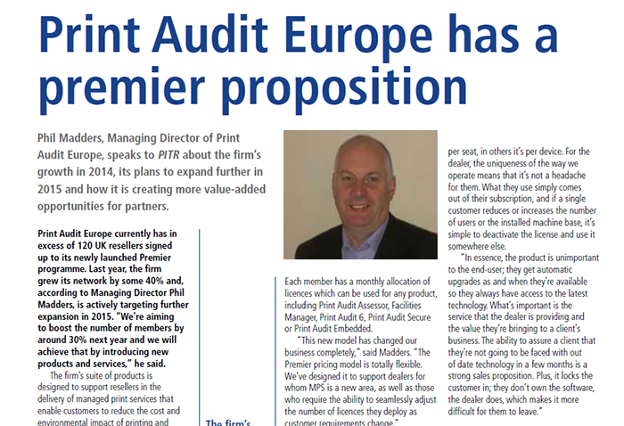 Phil Madders, Managing Director of Print Audit Europe, speaks to PITRPhil Madders, Managing Director of Print Audit Europe, speaks to PITR