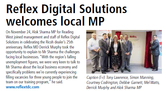 Alok Sharma MP for Reading West joined management and staff of Reflex Digital Solutions
