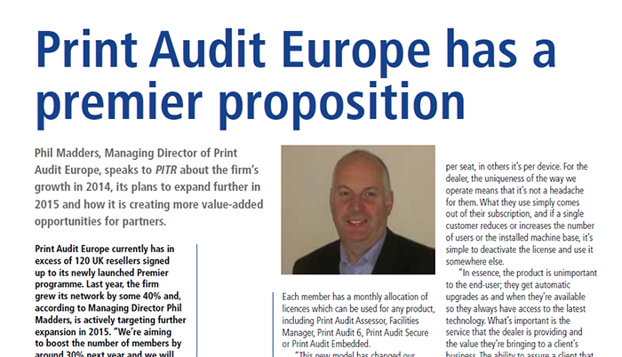 Phil Madders, Managing Director of Print Audit Europe, speaks to PITRabout the firm's growth in 2014