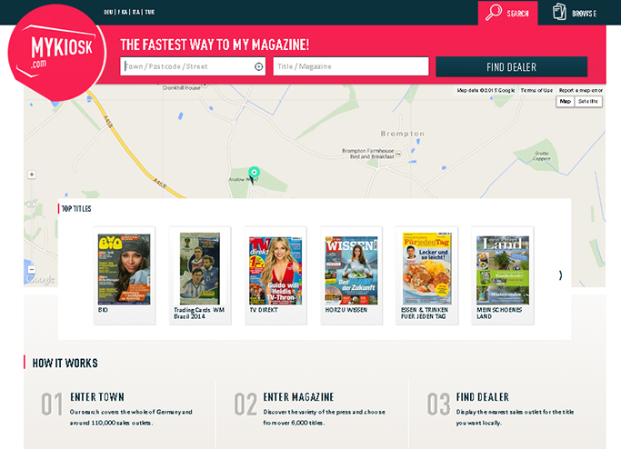 A search engine for magazines, it enables internet users in Germany (and soon Austria and Switzerland) to locate the nearest stockist of their favourite newspaper or magazine