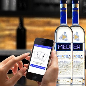 The combination of programmable LED displays on bottles, Apple's iBeacon Bluetooth technology and a MEDEA app