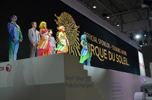 Xerox: Cirque du Soleil performers strike a pose before their special performance in the Xerox stand at drupa 2012