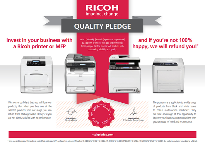 Ricoh Announce Customer Satisfaction Quality Pledge for