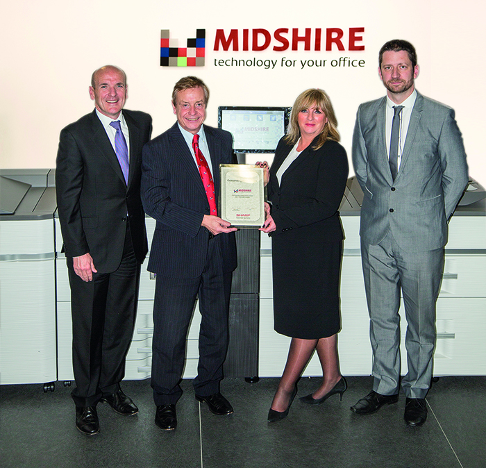 (l-r) Julian Stafford, Midshire Business Systems Northern Managing Director; Phil Powell, Midshire Business Systems Managing Director; Sue Kelly, National Dealer Sales Manager and Joe Hughes, Territory Sales Manager.