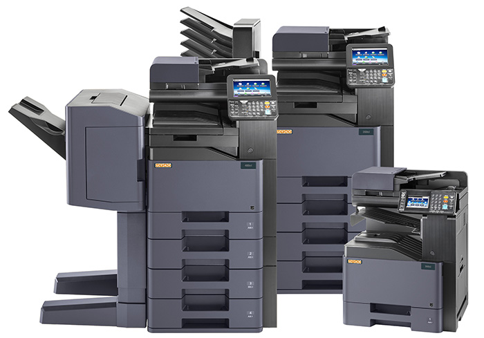 They have a maximum paper input capacity of 3,100 sheets and an output capacity of up to 3,300 sheets. Stapling and punching modules are also available.