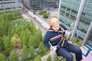 Chapman abseiled 230 feet down the side of 50 Bank Street, Canary Wharf clocking up £970