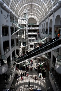 The interior of Bentalls shopping centre in Kingston, Surrey.