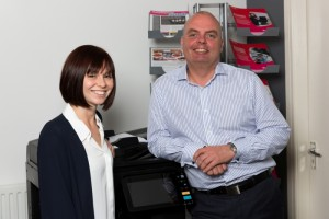 Client Support Manager Amy Carey with Director David Griffiths