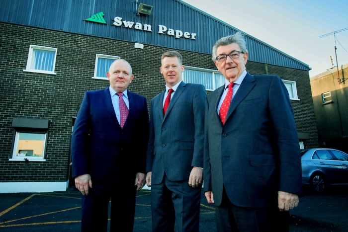(L to R) Brian McArdle (COO of Swan), Eoin Heagney MD Antalis Ireland & Tony Swan (current Swan CEO)