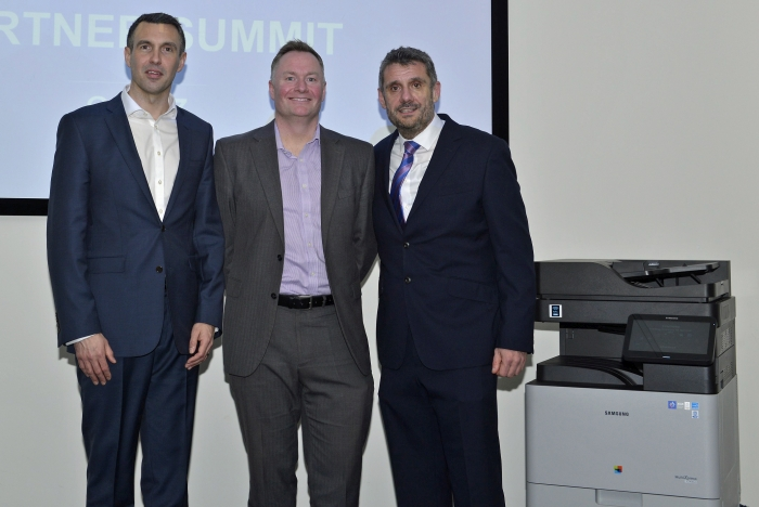 l-r: Mark Ash, Director Enterprise Business at Samsung Elecronics; Brett Abson and David Thompson, Head of OA Channels at Samsung UK