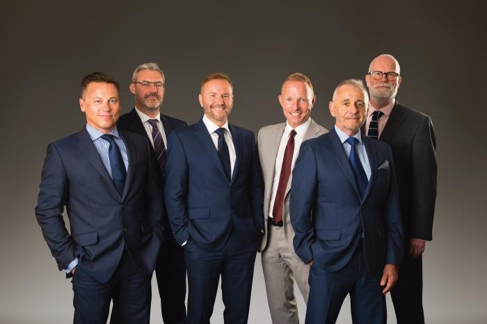 (l-R) Warren Colby, Michael Nelson, John Ellis, Mark Bryce, John Watson and Paul Dawson