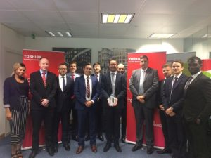 Members of APS join representatives from Toshiba TEC's Direct sales team at the presentation