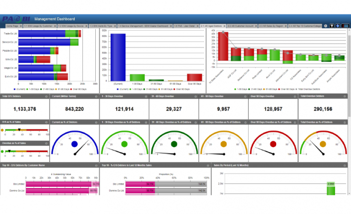 PAe Business Intelligence Dashboard