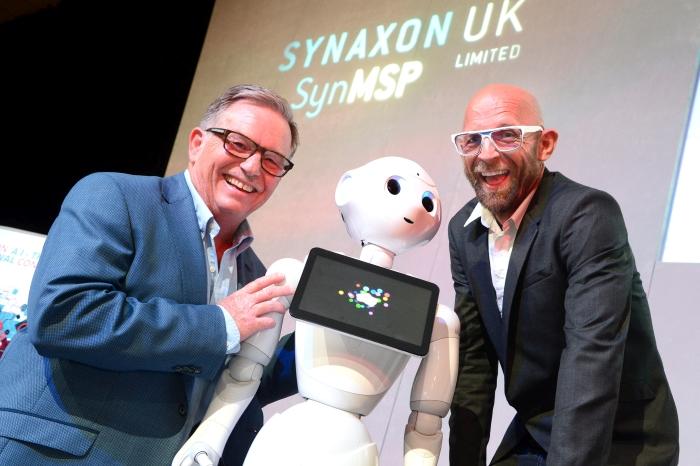 Derek Jones and Jason Bradbury with Pepper the robot